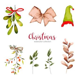 Sammlung von aquarellillustration von weihnachtsdekorationen
