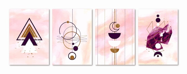 Sammlung von aquarellumschlägen mit goldenen elementen