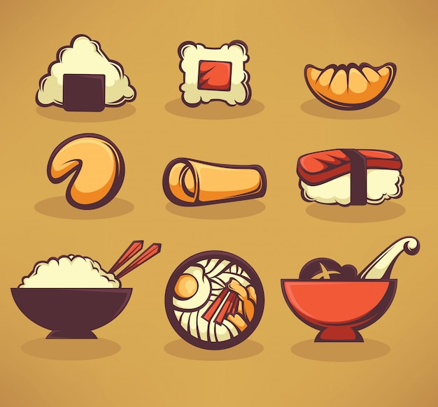 Sammlung von asiatischen lebensmitteln