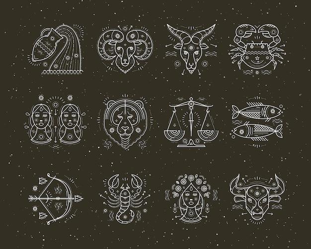 Sammlung von astrologie und sternzeichen mit dünner linie. grafische elemente.