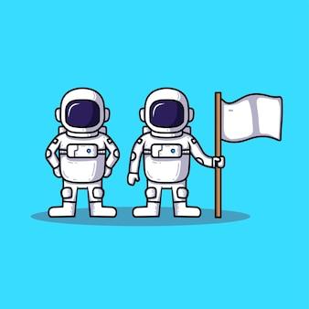Sammlung von astronauten-cartoon mit flagge