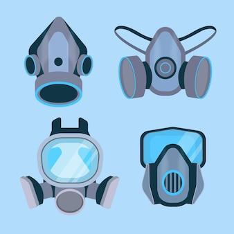 Sammlung von atemschutzmasken für gasmasken