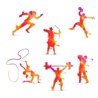 Sammlung von athleten in orangetönen