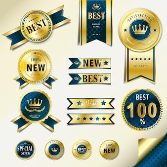 Sammlung von attraktiven goldenen etiketten design-set