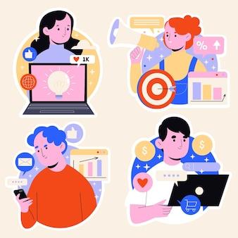 Sammlung von aufklebern für digitale marketingstrategien