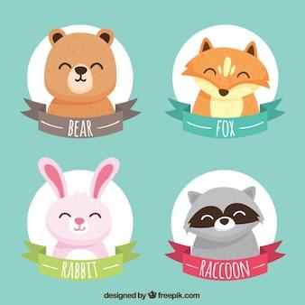 Sammlung von aufklebern mit lächelnden tiere