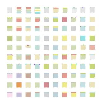 Sammlung von aufklebern mit notizen