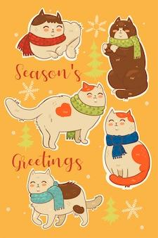 Sammlung von aufklebern von weihnachtskatzen in schals.