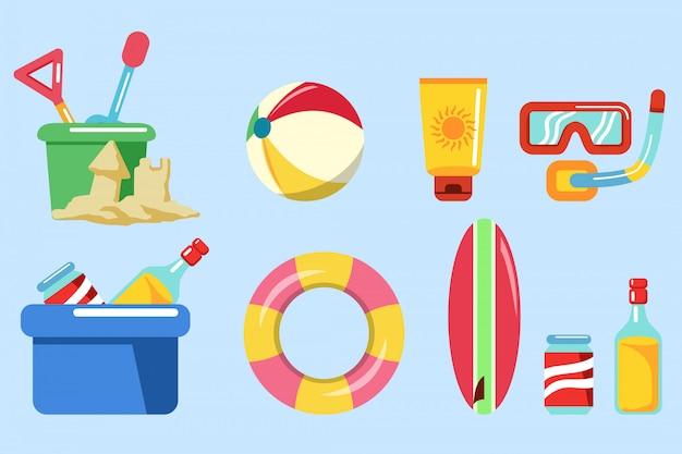 Sammlung von ausrüstung für strandurlaub.
