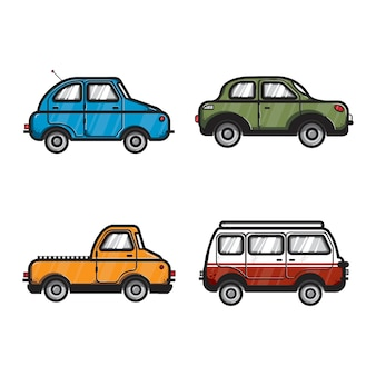 Sammlung von auto- und fahrzeugillustrationen