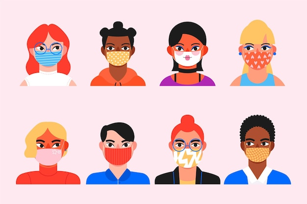 Sammlung von avataren von menschen, die medizinische masken tragen