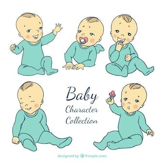 Sammlung von baby-charakter mit blauen pyjama