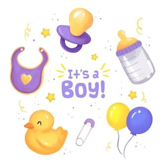 Sammlung von babypartyelementen für jungen