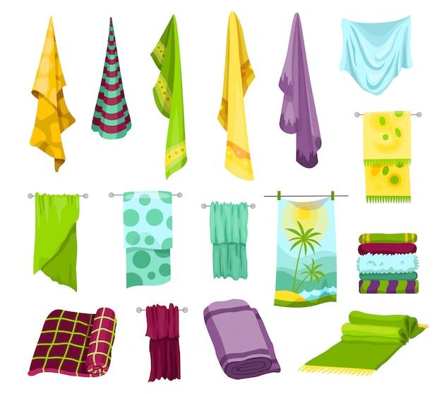 Sammlung von badetüchern.