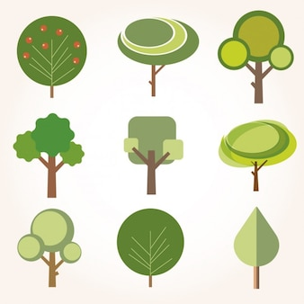 Sammlung von bäumen in flache bauform