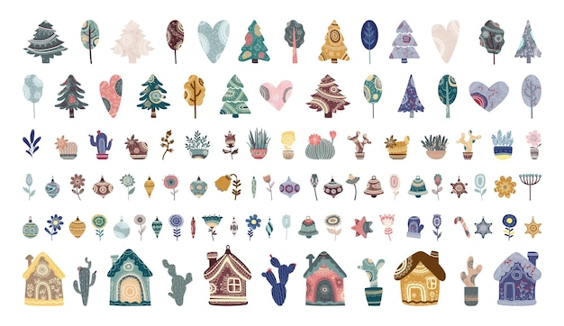 Sammlung von bäumen pflanzt häuser und weihnachtsspielzeug mit abstrakten ornamenten