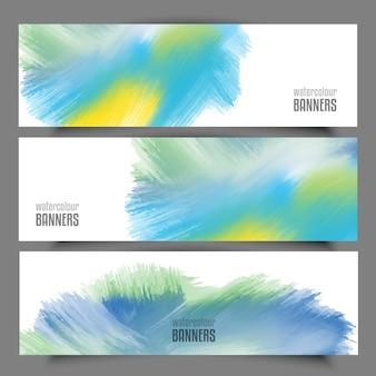 Sammlung von banner mit aquarell-designs