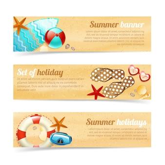 Sammlung von bannern mit sommerferien urlaub