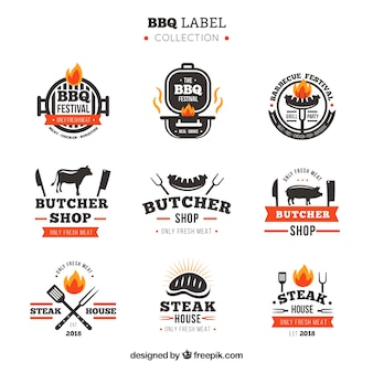 Sammlung von barbecue-etiketten
