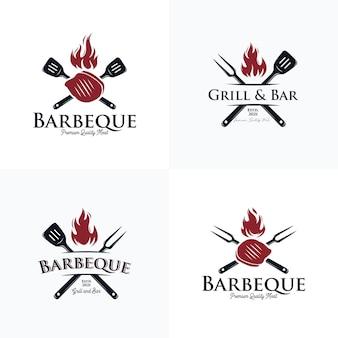 Sammlung von barbecue- und steakhouse-logo-sets