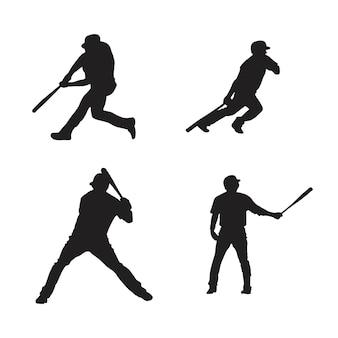 Sammlung von baseballspieler-silhouetten