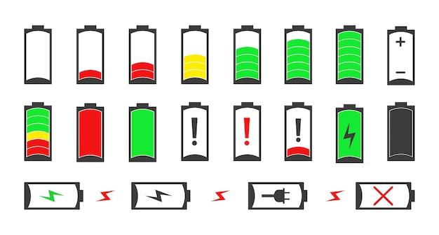 Sammlung von batterien mit unterschiedlichen ladeständen.