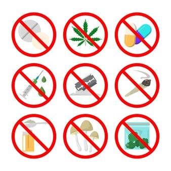 Sammlung von betäubungsmitteln im roten schild