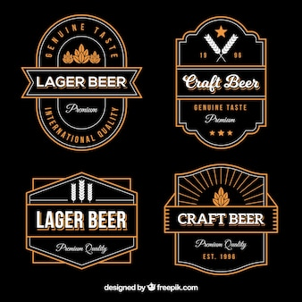 Sammlung von bier-aufkleber im vintage-stil