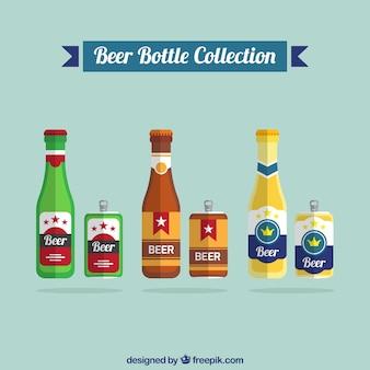 Sammlung von bierdosen und bierflaschen