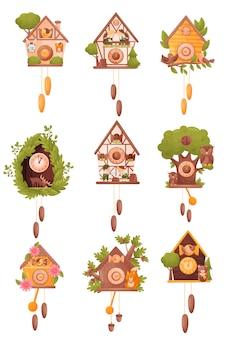 Sammlung von bildern verschiedener kuckucksuhren. vektorillustration