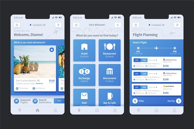 Sammlung von bildschirmen für die reisebuchungs-app
