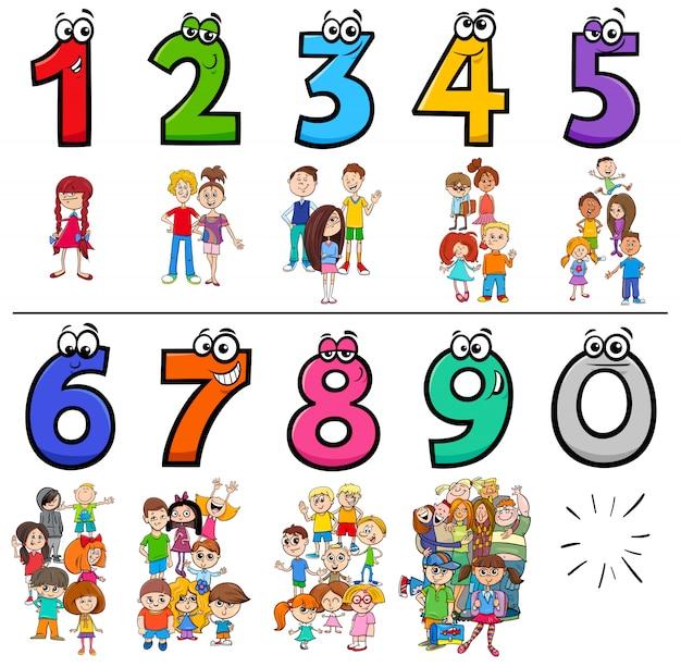 Sammlung von bildungskarikaturnummern mit kindern