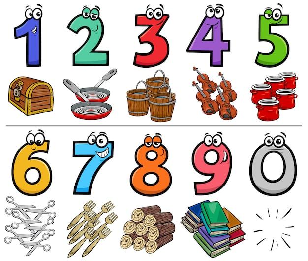 Sammlung von bildungskarikaturnummern mit objekten