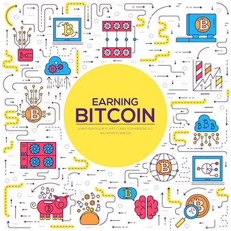 Sammlung von bitcoin-gliederungssymbolen. lineares symbolpaket für moderne technologien.