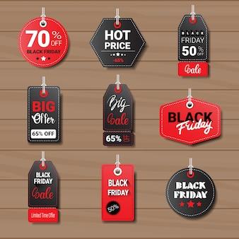 Sammlung von black friday tags oder etiketten