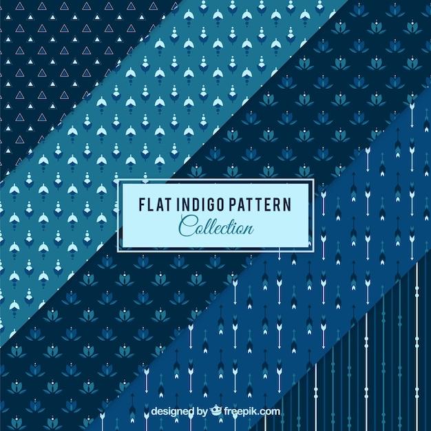 Sammlung von blauen muster mit dekorativen formen