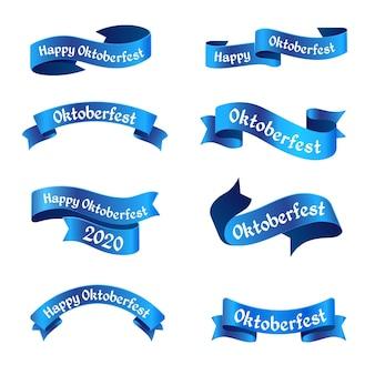 Sammlung von blauen oktoberfestbändern