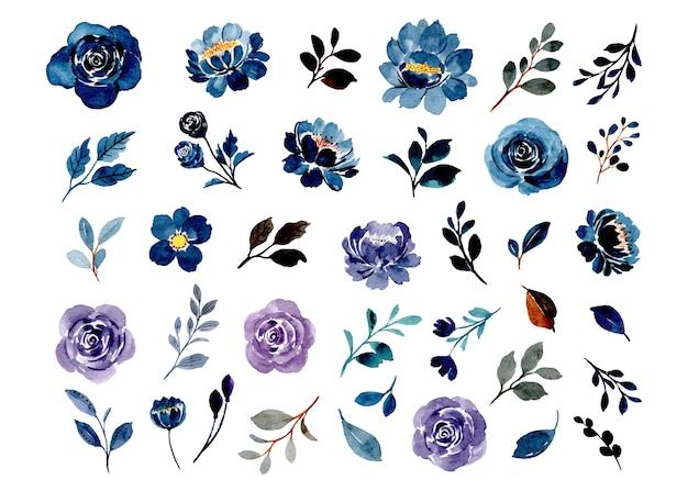 Sammlung von blauen und lila aquarellblumenelementen