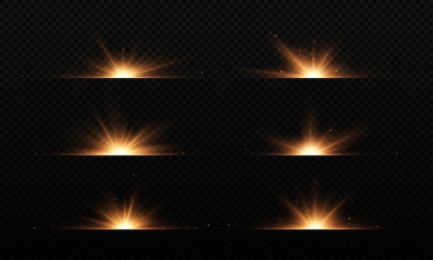 Sammlung von blitzen lichter und funken effekte blendungslinien glitzer explosion goldenes licht