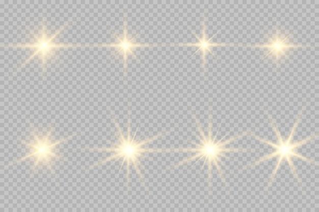 Sammlung von blitzen, lichtern und funken.