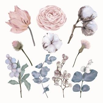 Sammlung von blumen aus rosa tulpen, pfingstrosen, baumwolle und blättern