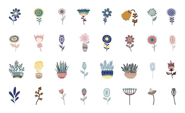 Sammlung von blumen und pflanzen mit mustern