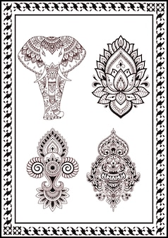 Sammlung von blumen zeichnung henna und tätowierungen. dekoration in der indischen orientalischen artschwarzfarbe