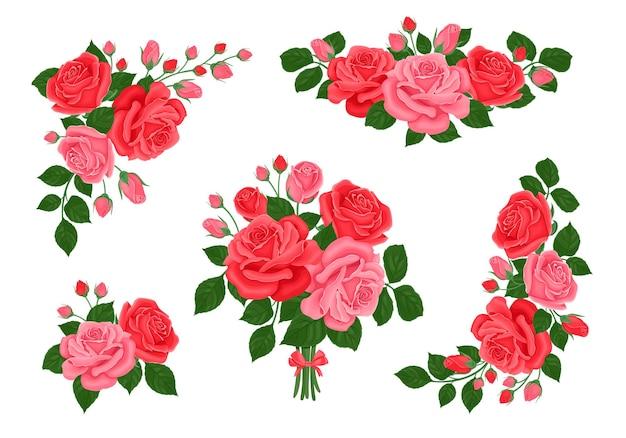 Sammlung von blumensträußen aus roten und rosa rosen, blüten und knospen.