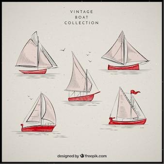 Sammlung von booten im vintage-stil