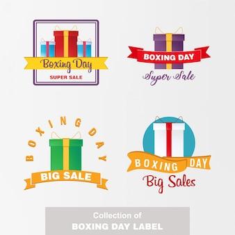Sammlung von boxing day label