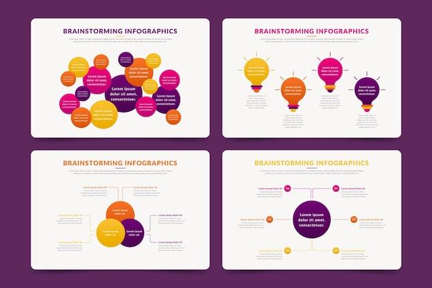 Sammlung von brainstorming-infografiken mit flachem design