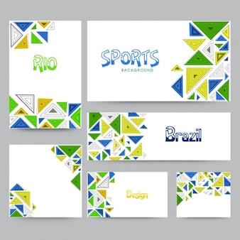 Sammlung von brasilien banner mit dreiecke in verschiedenen farben