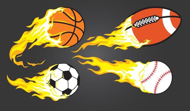 Sammlung von brennenden sportbällen