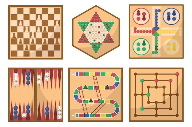 Sammlung von brettspielillustrationen